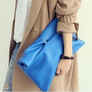 Kpop Style Candy Color Women's Clutches Fashion Women Envelope Bags PU Leather Clutch Evening Bag Female Wallet Black