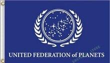 Trek Federación Unida de Planetas bandera personalizada bandera bandera 3X5FT 100D Impresión Digital Envío Gratis