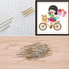 100Pcs Golden Tail Needles 24# Embroidery Fabric Cross
