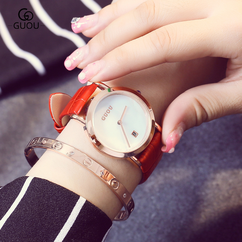 relojes mujer 2017 GUOU Brand Casual Women watches Fashion Simple Ladies Quartz Watch Waterproof Leather Clock relogio feminino new geneva ladies fashion watches women dress crystal watch quarzt relojes mujer pu leather casual watch relogio feminino gift