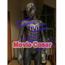YOY-ZENTAI Super Quality Custom Made Hero Raimi Spider-Man Suit In Black Raimi Spiderman Costume With Lenses