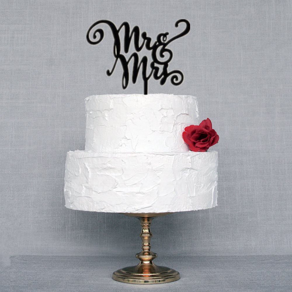 Custom Cake Topper Mr & Mrs Heart Design Engagement Wedding Cake ...