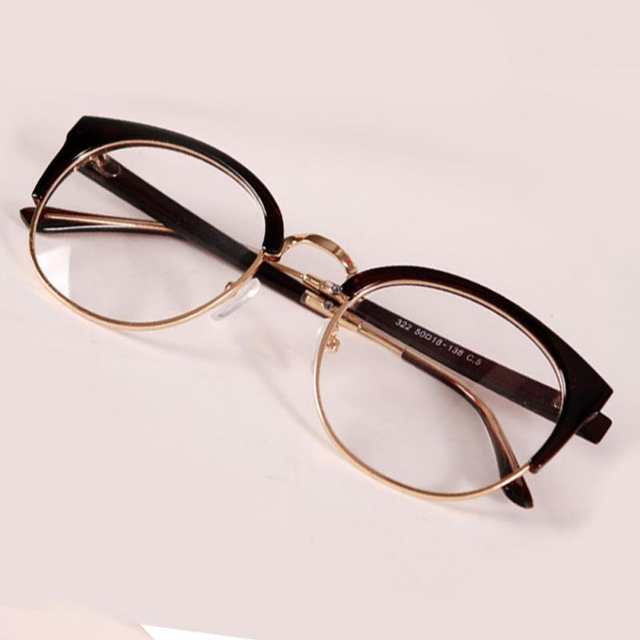 ffa5f8575a New Style Anti-Radiation Goggles Plain Glass Spectacles Fashion Women Metal+Plastic  Semicircle Frame