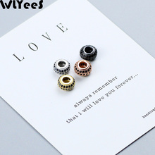 WLYeeS 2pcs Coin Pendant Charm Copper beads 8mm flat Round Black zircon metal Spacer Loose for Jewelry making bracelet DIY