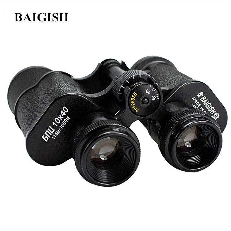 Baigish Russian Military Binoculars 10X40 Professional Telescope High Quality Full-metal binocular Lll Night vision for Hunting телескопы бинокли baigish hd 20 x 50 lll pg99