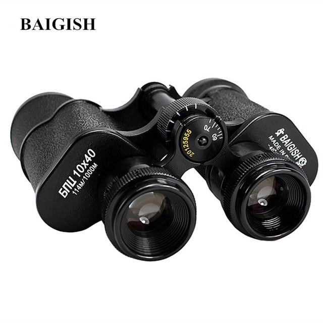 Baigish Russian Military Binoculars 10X40 Professional Telescope High Quality Full metal binocular Lll Night vision for Hunting