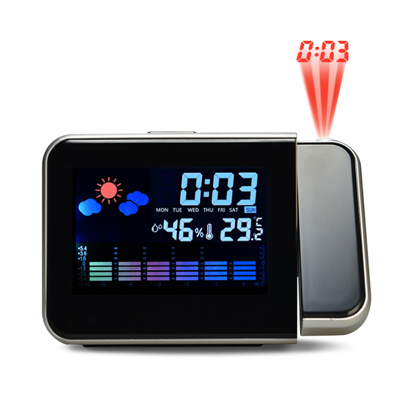 Snooze Digital Projection Alarm Clock Backlight LED Display Temperature Color Weather Report Wake Up Projector Clock