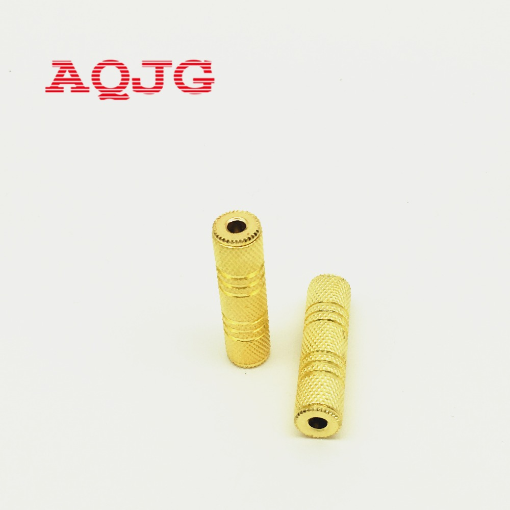 1Pcs 3.5mm Female To 3.5 Mm Female F/F Audio Adapter Coupler Metal Gold Plated Connector