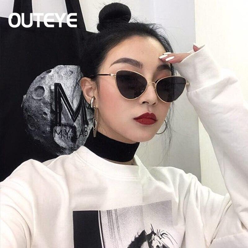6139752f050ac OUTEYE 2019 Sunglasses Women CatEye Alloy Frame Mirror Sun Glasses Flat Woman  Sun glasses UV400 gafas