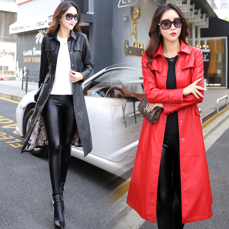 Long Leather Jacket Women Fashion Coat Female M-5XL Plus Size Turn Collar Single Covered Button Outerwear Black Red Army Green