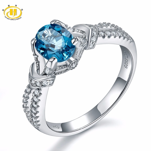 hutang solid 925 sterling silver natural gemstone london blue topaz engagement rings fine jewelry for women - Blue Topaz Wedding Rings