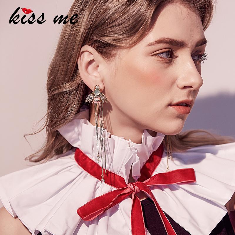 все цены на KISS ME Brand Jewelry for Women Link Chain Fringe Long Earrings Cute Crystal Insect Bee Fashion Earrings Brincos