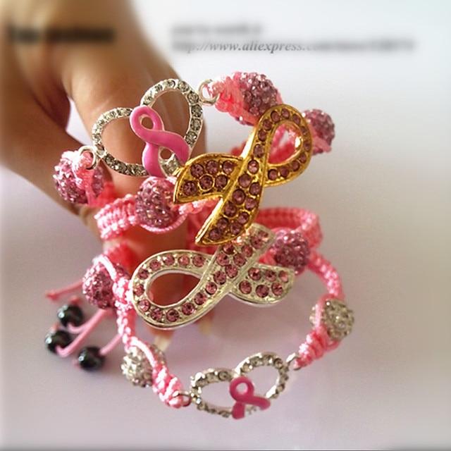 12pcs 4style wholesale pink Ribbon breast cancer awareness rhinestone cley  beads ribbon shamballa bracelets for women b70b926a8487