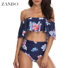 Zando Tankini Swimming Suits For Women  Swimsuit Sexy Halter Beach Swimwear Two Piece Female Bathing Body