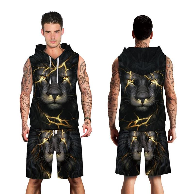 New 2 Piece Set Gold Crack Lion Head Sportwear Suits Men Shorts Sweatshirt Funny Print Hooded + Shorts 3D Tracksuit