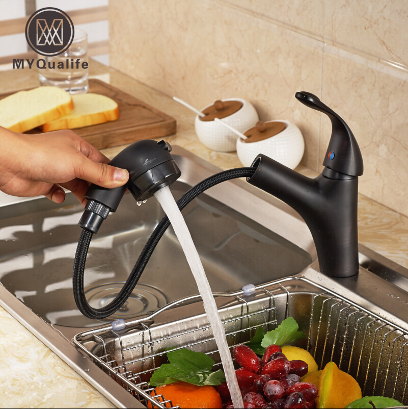 Здесь продается  Oil-rubbed Bronze Pull Out Kitchen Mixer Faucet Deck Mount One Hole Bathroom Wash Hair Water Taps  Строительство и Недвижимость
