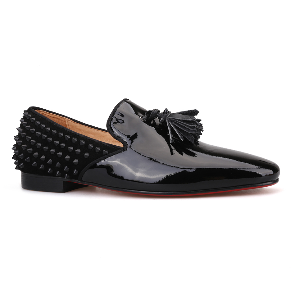 Piergitar 2019 handmade black Patent leather men shoes fashion red bottom tassel men's loafers spiked designs men flats