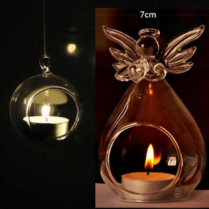 DIY Glass Candle Holder Home Decorations Candlestick Crystal Glass Hanging Candle Holder Candlestick Home Party Dinner Decor Hot