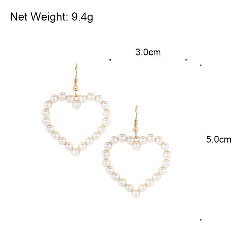 Flashbuy Gold Heart Pearl Drop Earrings For Women Statement Pearl Dangle Earrings Simple Fashion Jewelry Trendy Accessories 5