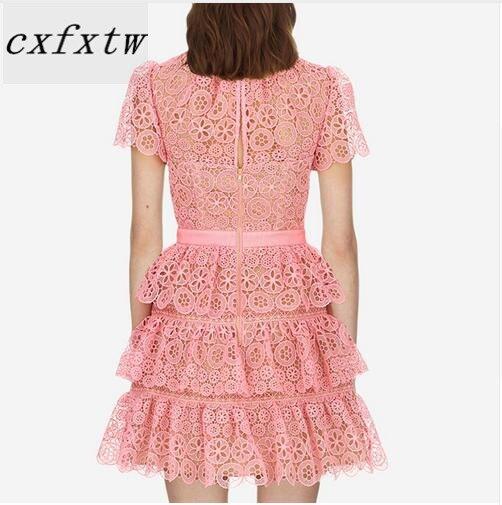 Robe à manches courtes 2018 été col rond jolie robe en dentelle rose de haute qualité - 4
