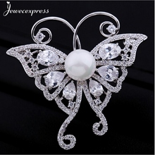 Jewecexpress  Popular Butterfly zircon bright Brooches Women jewelry Party wedding Christmas gift