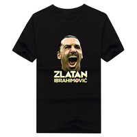 New Zlatan Ibrahimovic Poster Red Devils Short Sleeve O Neck T Shirt Tee 100 Cotton Fans