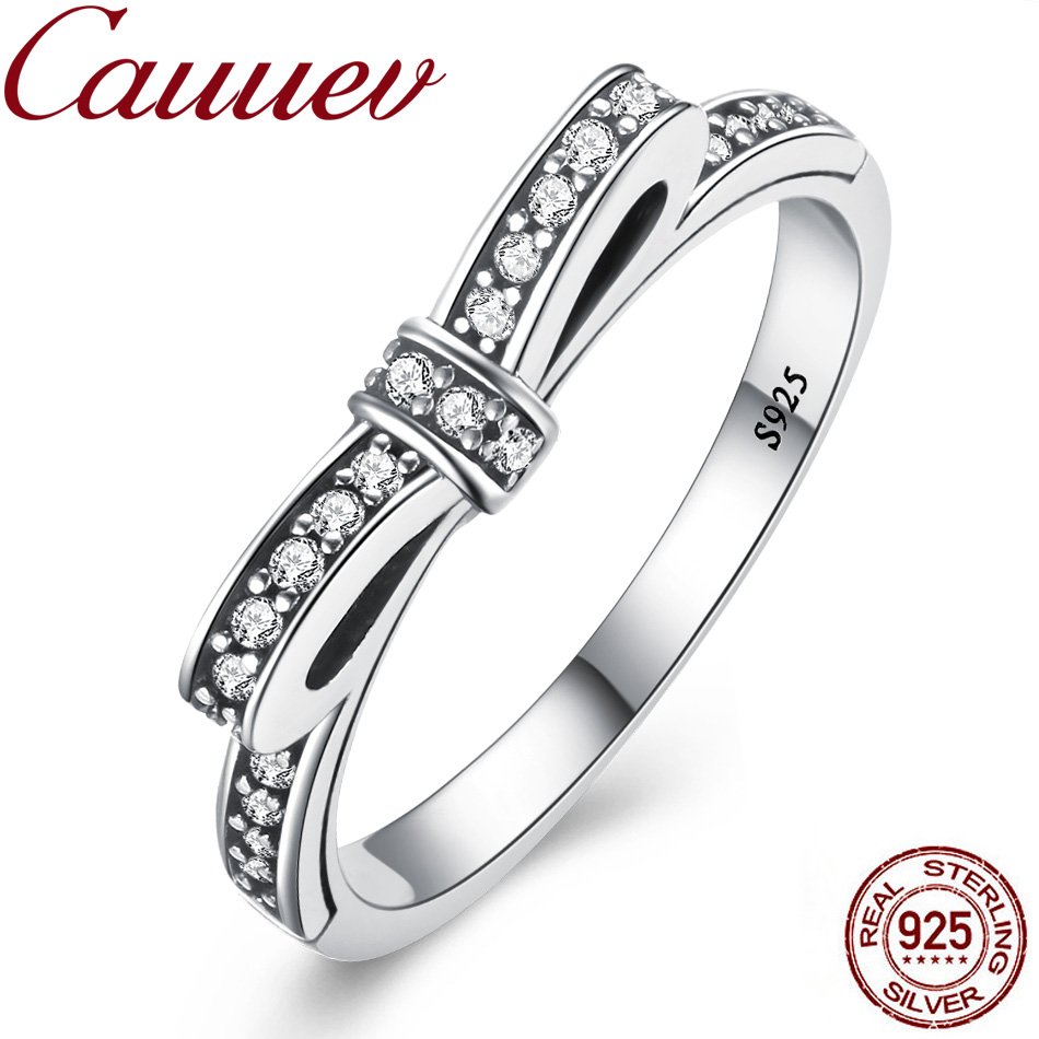Cauuev 925 Sterling Silver Sparkling Bow Knot Stackable Ring Micro Pave CZ Bow Knot For Women Valentine's Day Gift Jewelry Bague