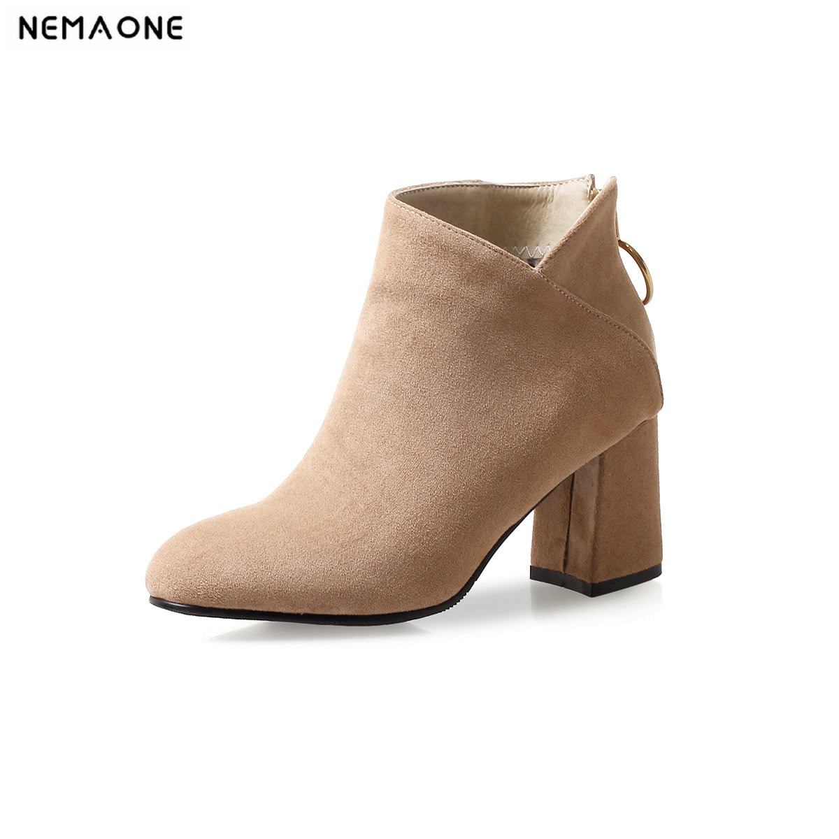 NEMAONE ladies high heels ankle boots wedding party dress shoes woman black red beige women boots large size 42 43 women wedding dress so kate heels red of beige bottom shoes superstar shoes top quality 14cm high heels clogs large size 4 16