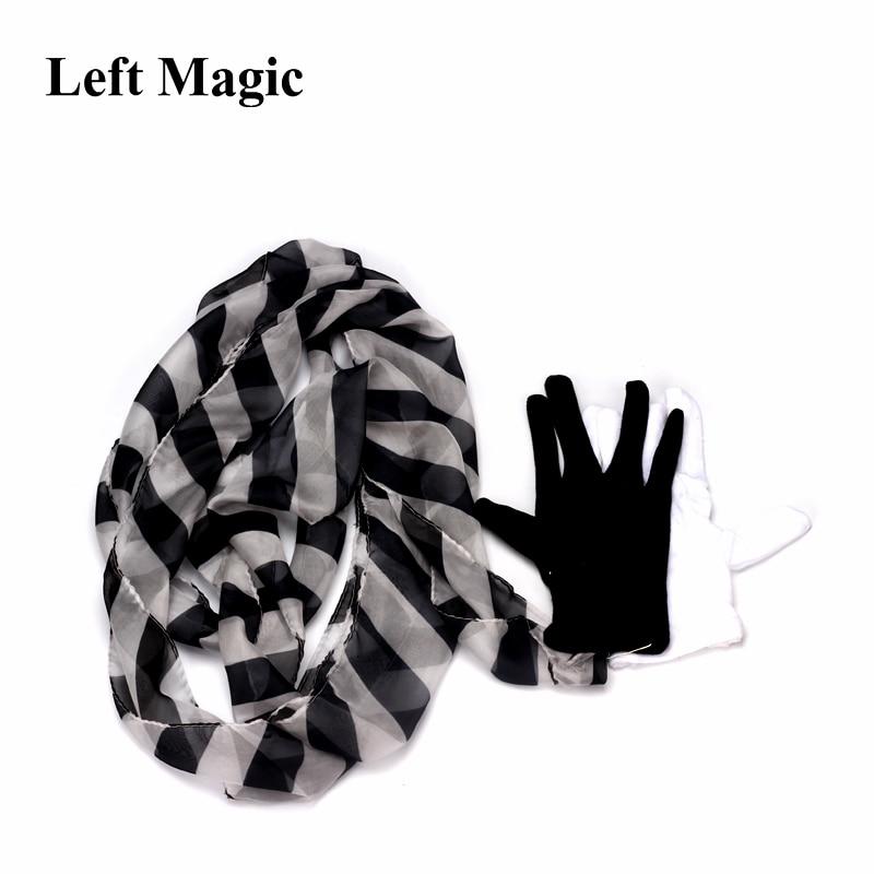 Glove To Zebra Streamer Silk Scarf Magic Tricks Professional Magician Street Stage Party Magia Props Magic Classic ToysGlove To Zebra Streamer Silk Scarf Magic Tricks Professional Magician Street Stage Party Magia Props Magic Classic Toys