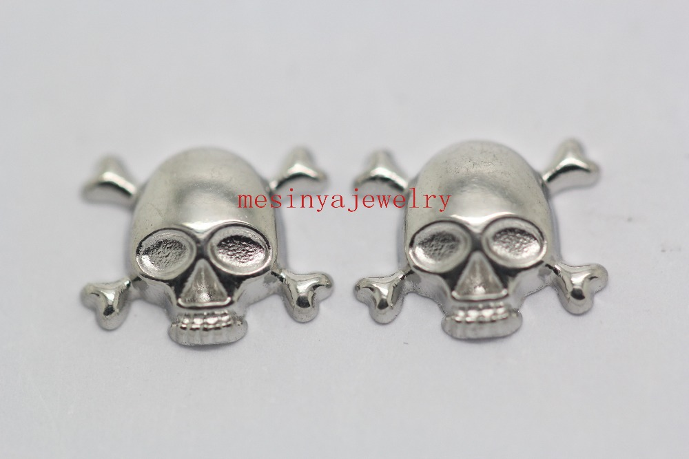 10pcs skull floating charms for glass locket Min amount $15 per order mixed items,FC-002