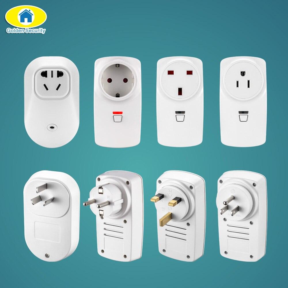 Golden Security EU/AU/US/UK Wireless Smart Socket Outlet Switch Plug for G90B Plus S5 WiFi GSM Alarm System