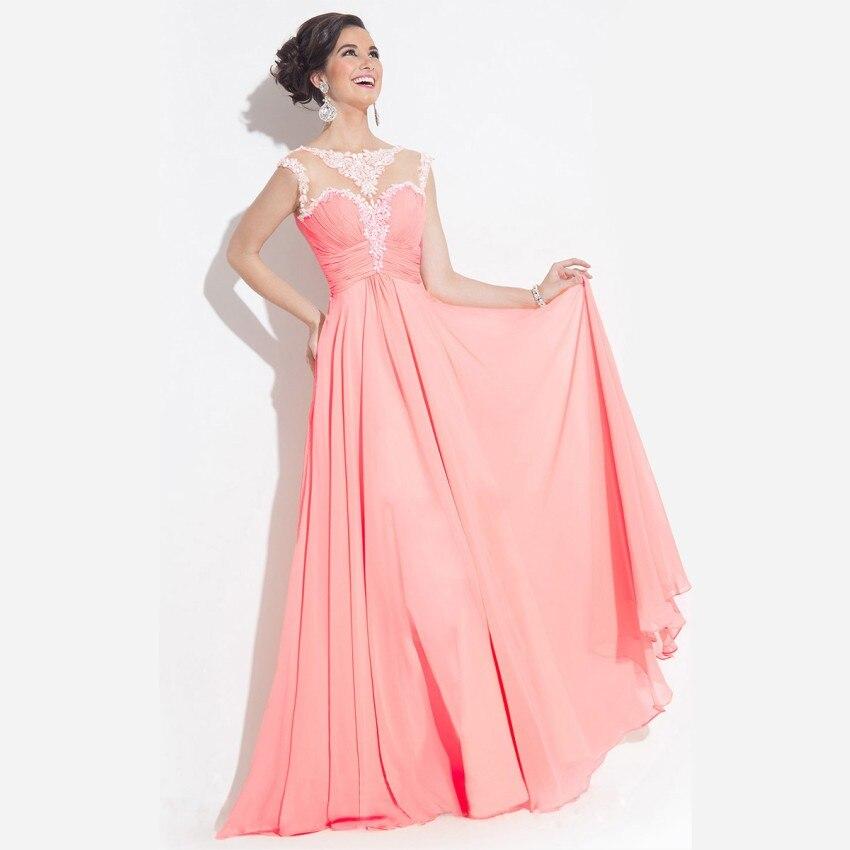2016 Elegante Naranja Gasa Vestidos de Noche Hecho A La Medida ...