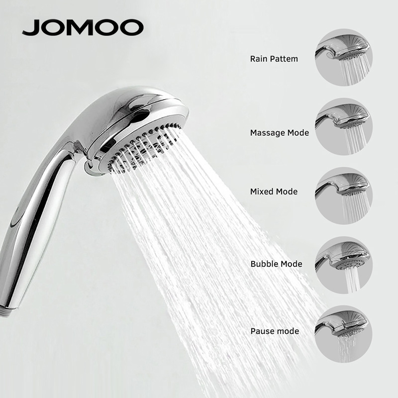 JOMOO Shower Head ABS Chrome Bathroom Bath Shower Water Saving High Pressure Round Shape Hand Shower 5 Jets 3.5 inch Nozzle jomoo 4 inch 3 jet bathroom shower head chrome hand shower with wall bracket stainless steel hose ducha chuveiro water saving