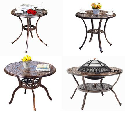 Courtyard small cast aluminum round tables balcony iron furniture square table coffee table