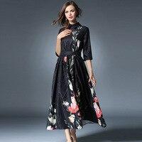 European style long dresses autumn and winter large swing dress elegant temperament Slim British style women dresses