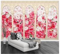 3d תמונת טפט 3d המותאם אישית ציורי קיר טפט עמודה רומית אידילית רוז רקע ספת קיר רקע טלוויזיה קיר בית תפאורה