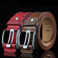 Fashion 2016 Men's Style Brand Designer Strap Colorful Line Luxury Casual Pin Buckle Metal High Quality Wide Belts For Man DC122