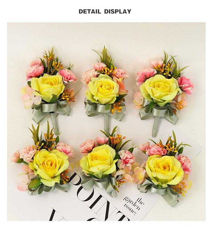bridesmaid bracelet wedding corsage flowers roses artificial  (6)