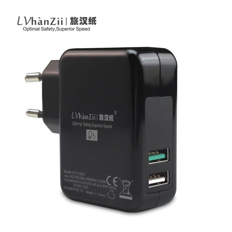 LVhanZii 30W Quick Charge 3.0 EU US Power Adaptor Dual Ports USB Wall Charger For iPhone 7 / Asus Zenfone 3 / LG G5 G3 / Xiaomi