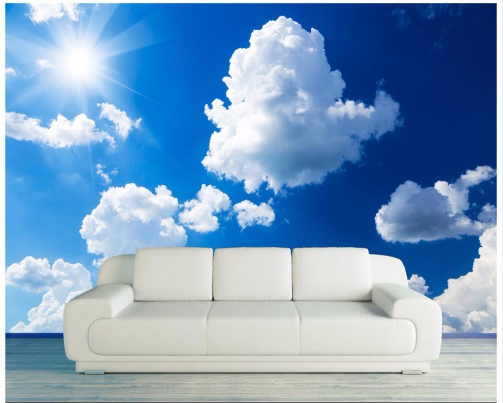 Beibehang Custom Wallpaper Mural Blue Sky White Cloud Resort Restaurant Living Room Family Background Decorative 3D Wallpaper