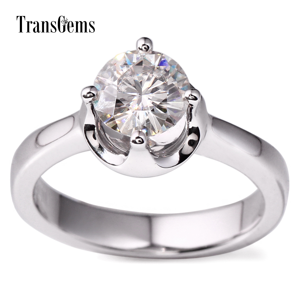 7d74a7522902d US $399.0 |Transgems Classic Solid 14k 585 White Gold 1ct 6.5mm F Color  Moissanite Solitaire Engagement Wedding Ring for Women Gift-in Rings from  ...