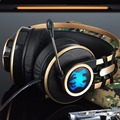Heavy Low Sound Headphone Over-Ear Gaming Headsets Headband Earphone Shock LED Light with Microphone for PC Game