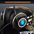 Pesado Baixo de Som Fone De Ouvido Over-Ear Headsets Gaming Headband Choque CONDUZIU a Luz do Fone de ouvido com Microfone para o Jogo de PC