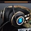 Sonido Bajo pesado Auriculares Sobre la Oreja los Auriculares Para Juegos Diadema Auricular de Choque Luz LED con Micrófono para PC Del Juego