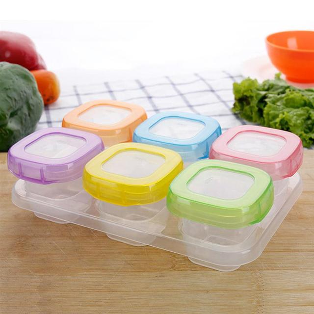 6pcs 60ml Baby Weaning Food Freezing Cubes Tray Pots Freezer Storage
