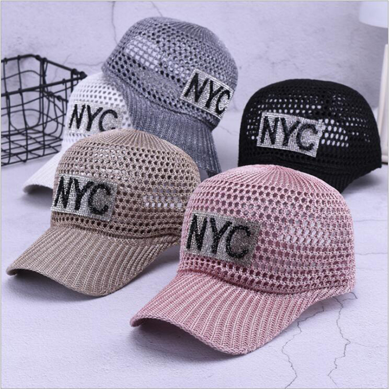 Women's Breathable Baseball cap Summer Hat for Female 2018 Fashion Letter Diamond Hats Visor Women Breathable Mesh Cap