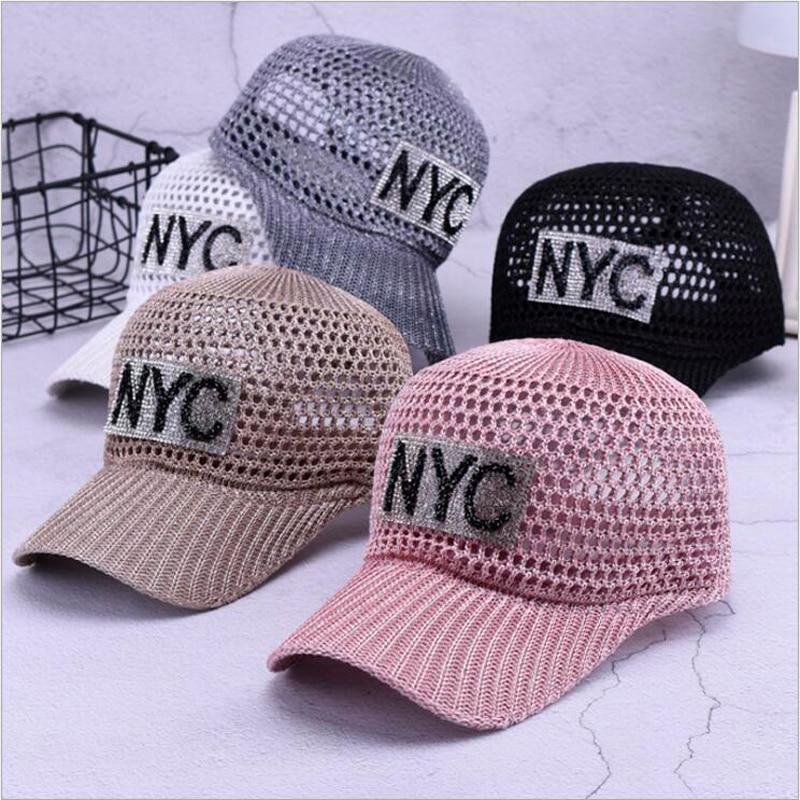Women's Breathable   Baseball     cap   Summer Hat for Female 2018 Fashion Letter Diamond Hats Visor Women Breathable Mesh   Cap