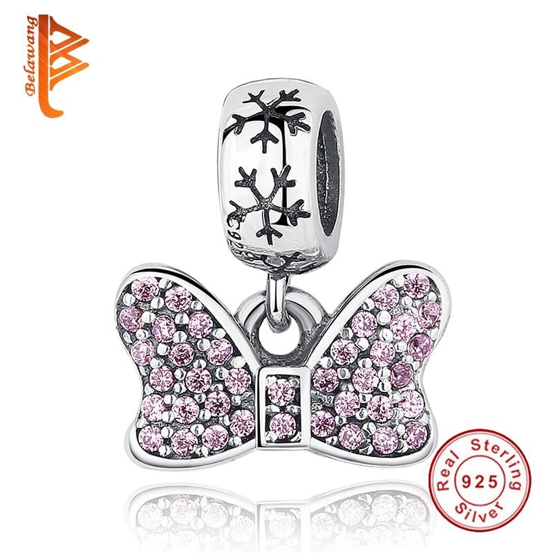 Prix pour Fit Original Pandora Charm Bracelet Argent 925 Automne Hiver BRICOLAGE Berloque Minnie Arc Avec Zircon Perles pour Fabrication de Bijoux