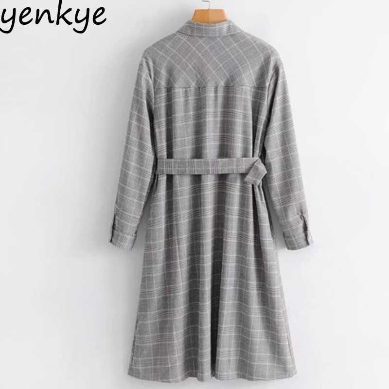 b29e3e8fd16 ... Spring Dress 2018 Women Vintage Houndstooth Shirt Dress Lady Long Sleeve  With Belt A-line ...
