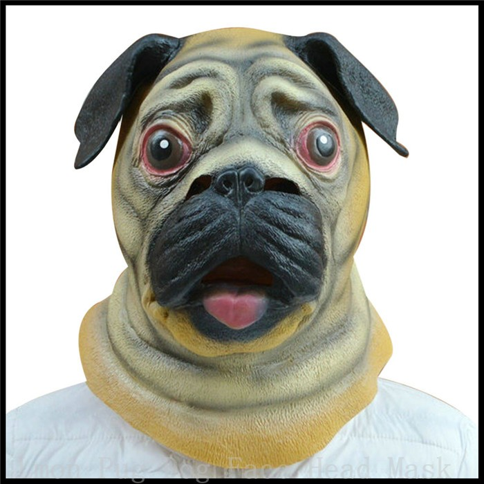 party cosplay 100 eco friendly latex magic costume realistic latex adult pug dog mask animal mask halloween masks evening party in party masks from home